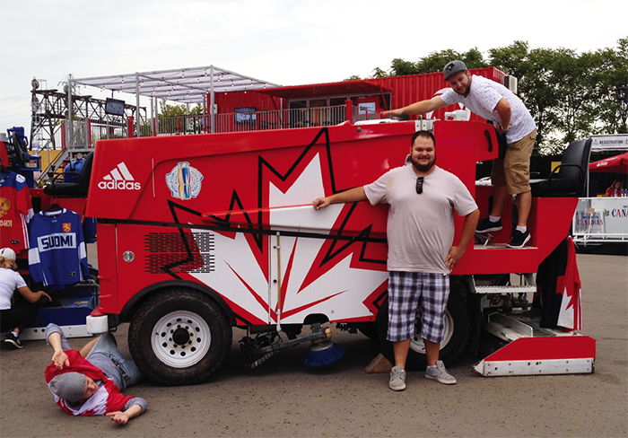 Who can resist the opportunity to goof around with a real Zamboni, as these guys did at the 2016 World Cup of Hockey Fan Village in Toronto?
